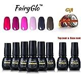 FairyGlo Gift Set Smalto Semipermanente 8PZ(6 Colori +Base Top Coat) Nail Art Set Soak off Gel UV LED Ricostruzione Unghie Arte 7ML + Free Nastro a Strisce