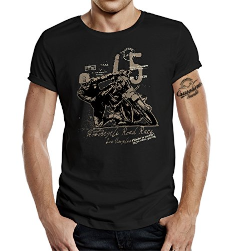 GASOLINE BANDIT Original Biker Racer Design T-Shirt: Road Race II-L -