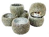 RASTOGI Kunsthandwerk Serviette Ring Silber Perlen Serviette Ring Halter, Geburtstag, Weihnachten, Geschenk für jeden Anlass Set von 6