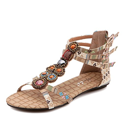 Sandali etnici bohémien da donna sandali con perline piatte casual