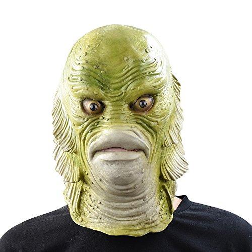thematys Kreatur Schwarze Lagune Meermann Fisch-Monster Maske - perfekt für Fasching, Karneval & Halloween - Kostüm für Erwachsene - Latex, Unisex Einheitsgröße (Fisch Mann Kostüm)