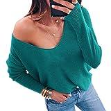 Wenyujh' Damen Pullover Locker Sweater Strickpullover Strickpulli Sweatshirt Oversize Langarm V-Ausschnitt Modern Herbst Frühling (Large, Grün)