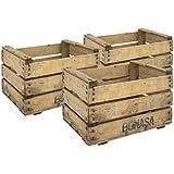 Decowood Set de Cajas de Fruta, Madera, Beige, 49x35x31 cm, 3 Unidades