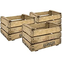 decowood set de cajas de fruta madera beige xx cm unidades