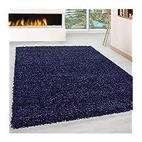 Shaggy Rug Long Pile Carpet Single Color Dark Blue - 200x200 cm round