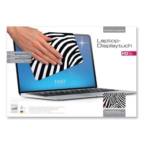 1x POLYCLEAN Displaytuch aus Microfaser P-9000 / Reinigungstuch für Laptops ab 13 Zoll / Schutztuch für Bildschirm, Tastatur & Monitor (29 x 20 cm, Zebra)