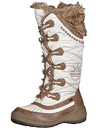 Warm Gefütterte Damen Schlupfstiefel Stiefel 78602 Zierknöpfe Comfy Trendy Neu