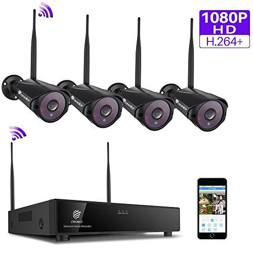 (H.264+)1080P Ctronics überwachungkamera Set,4CH drahtloses 2.4G Videoüberwachung NVR Sicherheitskamera System Wasserfesten 4*1080P IP Kameras Indoor&Outdoor mit Nachtsicht(HDD nicht enthalten)