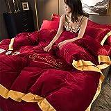 Flanell 4 Stück Dicke Warme Koralle Fleece Bettbezug Set, mit Reißverschluss und Eckknöpfen (1 Bettbezüge, 1 Spannbettlaken, 2 Kissenbezug),001,King