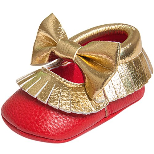 Fire Frog  Baby Mary Jane Shoes, Baby Mädchen Lauflernschuhe rot / goldfarben