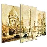Kunstdruck - Paris - Bild auf Leinwand - 100x60 cm 3 teilig - Leinwandbilder - Bilder als Leinwanddruck - Wandbild von Bilderdepot24 - Städte & Kulturen - Europa - Frankreich - Collage