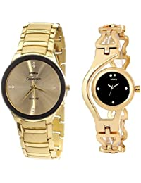 Xforia Golden & Black Dial Analog Watch For Men & Boys And Women (Pack Of 2_Couple Watch Set)