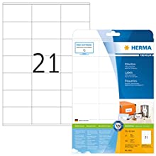 HERMA Self Adhesive Address Mailing Labels, 21 Labels Per A4 Sheet, 525 Labels For Laser And Inkjet Printers, 70 x 42 mm (4361)