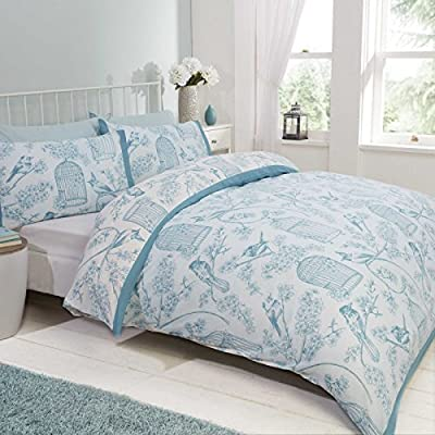 Birds Floral Double Quilt Duvet Cover and 2 Pillowcase Bedding Bed Set Duck Egg White New - inexpensive UK light store.