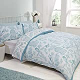 Birds Floral King Quilt Duvet Cover and 2 Pillowcase Bedding Bed Set Duck Egg White New