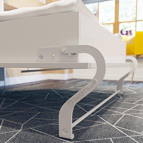 Schrankbett 160×200 cm vertikal Weiß Hochglanzfront MDF mit Gasdruckfedern, ideal als Gästebett – Wandbett, Schrank mit integriertem Klappbett, SMARTBett - 7