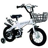 liusa Freestyle Fahrrad für Kinder 14 Zoll/Fahrradwaage mit Trainingsrad für Jungen und Mädchen (H50 cm, L 50 cm, L100 cm) geeignet für Kinder von 4 bis 8 Jahren, weiß