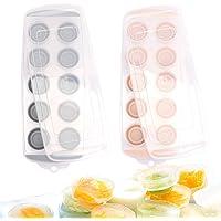 FYY 2 Paquets Bac à Glaçons, Base Souple Bac à Glaçons Kitchen avec Couverture - Silicone sans BPA rose+gris