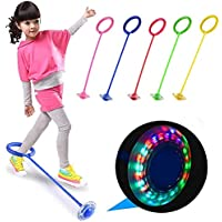 PULSBERY Leg Ring, Ankle Skip Ball Colorful Light Flashing Jumping Ring, Fitness Jump Rope Fat Burning Game for Adults…