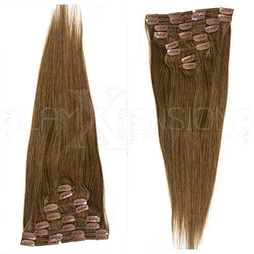 Clip in Extensions Echthaar 8 Tressen günstig Haarverlängerung Remy Human Hair Echthaar 8 Tressen 20 Clips Glatt 45cm-70g #12 Hellbraun für die Haarverdichtung