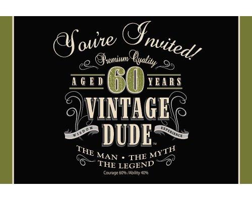 Creative Converting Vintage Dude 8Zählen zum 40. Geburtstag Party Einladungen Amerikanische Größe Vintage Dude 60th Birthday