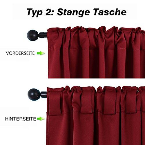 Blickdichte Vorhänge Isolierte Vorhänge – PONYDANCE Blickdichte Vorhänge mit Stangendurchzug für Wohnzimmer, Energiespar & Wärmeisolierend, H 213 cm x B 132 cm, Rot - 3