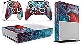 giZmoZ n gadgetZ GNG Xbox One S Konsolen-Gehäuseaufkleber, Motiv: Colour Explosion inklusive 2er-Set mit Aufklebern für Controller