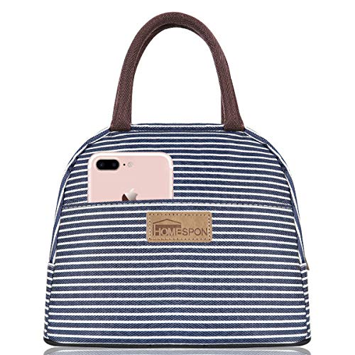 HOMESPON Isolierte Lunch Bag Cool Bag für Lunch Boxes Gestreiftes Wasserdichtes Gewebe Faltbare Picknick-Handtasche für Frauen, Erwachsene, Studenten und Kinder