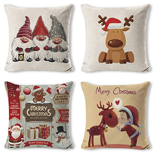 Gudotra 4pz natale federa per cuscini 45x45cm cotone copricuscini divano modelli babbo alce decorazioni natalizie per divano