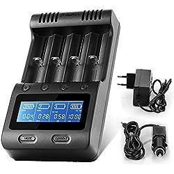 Zanflare C4 Chargeur de Piles Rapide, Chargeur d'accus Intelligent Fonction de Batterie Externe, Ecran LCD Piles Rechargeables A, AA, AAA, Accus 18650, 26650, 26500, 22650 ECT.
