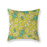 Diooe Customized Standard New Arrival Pillowcase Yellow Teal Bright White Sunny Throw Pillow 18 X 18 Square Cotton Linen Pillowcase Cover Cushion