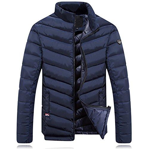 Bozevon cappotto da uomo corto piumino di inverno giacca manica uomini, blu