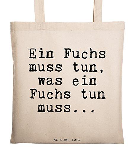 """Mr. & Mrs. Panda Tragetasche mit Spruch """"Ein Fuchs muss tun, was ein Fuchs tun muss..."""" - 100% handmade aus Baumwolle - Tragetasche, Tasche, Beutel, Jutetasche, Bag, Jutebeutel, Einkaufstasche, Motiv, Spruch, bedruckt, Druck Fuchs, Füchse, Schlaumeier, Schlauberger, Besserwisser Spruch Sprüche Lustig Spass Geschenk Geschenkidee Zitate"""