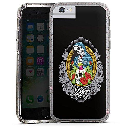 Apple iPhone 7 Plus Bumper Hülle Bumper Case Glitzer Hülle Joker - Mary Blumen Flowers Bumper Case Glitzer rose gold