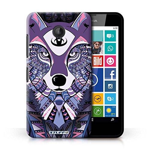 Coque en plastique pour Nokia Lumia 635 Collection Motif Animaux Aztec - Loup-Rouge Loup-Pourpre