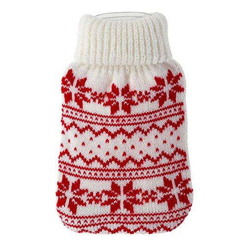 Taschenwärmer + Strickbezug - Norway - Wärmflasche Handwärmer Wärmepad Firebag, Farbe:Weiss