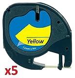 5 x Schriftband kompatibel für Dymo LetraTag 91202 / S0721620 (12mm x 4m) schwarz auf gelb, Kunststoff
