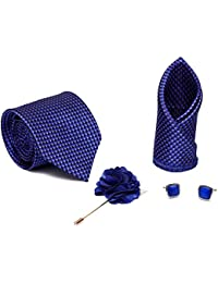7fd962474b14 Axlon Men Formal/Casual Jacquard Neck Tie Pocket Square Accessory Gift Set  with Cufflinks and Lapel Pin…