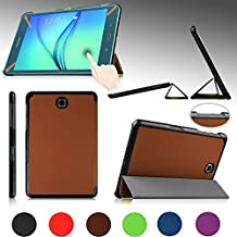 """e-PlanetPro Samsung Galaxy Tab A 8.0"""" Case - Luxury Ultra Slim Protective Shell, Shockproof, Drop Resistance, Anti-Dust Cover for Samsung Galaxy Tab A 8.0"""" (Wi-Fi, 3G/4G/LTE all models) with Sleep/Wake Up function! BROWN"""