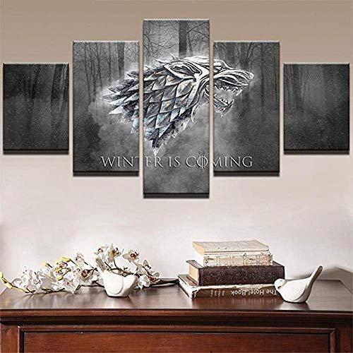 EUFJHS Hd Bilder- Leinwandbilder - Fertig Aufgespannt - Leinwand - 5 Teilig - Wandbilder - Kunstdrucke Prints Winter is Coming Painting Pictures Tvposter Home Decor-B2 Rahmen -