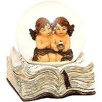 Bellissima palla di vetro con neve, angeli e base a forma di libro, circa 9 x 7,5 cm/ Ø 6,5 cm