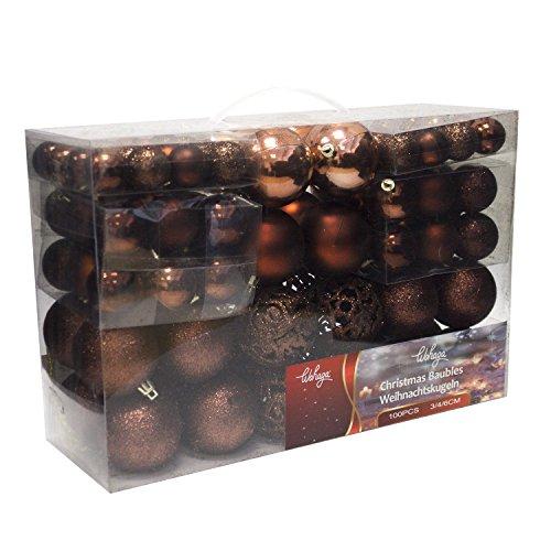 Wohaga® 100 Stück Weihnachtskugeln Christbaumkugeln Baumschmuck Weihnachtsbaumschmuck Baumkugeln, Farbe:Braun