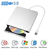 Blingco Externes DVD CD Laufwerk USB 3.0 DVD Brenner CD Brenner, Schlanker Tragbarer Player Writer für Windows7 / Windows8 / Vista / Linux / Mac 10 OS System, Silber