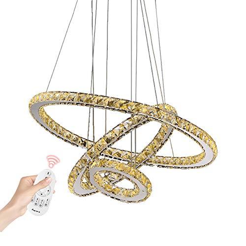 LED Pendelleuchte 3310WJ-3 Ringe 75 W. Mit Fernbedienung Lichtfarbe/Helligkeit Steuerbar. Luxus Design!! K9 Kristalle, Chrom. Drei Ringe Ø 70 cm-50 cm-30 cm. A+