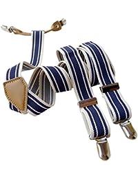 Lawevan® Hombres y Mujeres Pantalones Tirantes suspendedors con 4-clips de Estilo Coreano Azul y Blanco Stripe Tirantes