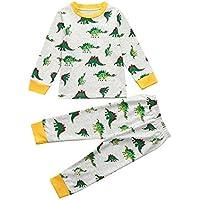 YanHoo Conjunto de Ropa para niños Dinosaurio de Dibujos Animados para niños Top + Pantalones Largos