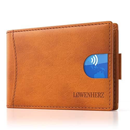 LØWENHERZ  Simba - Slim Wallet mit Geldklammer - Leder - Kredit-Karten-Etui für Herren - Portemonnaie mit RFID-Schutz (Cognac-braun mit Blauer Lasche)