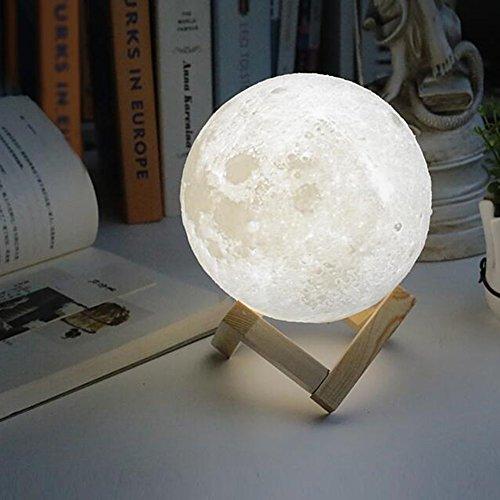 Ailier Mond Lampe 3D Printing Nachtlampe Lampe Nachtlicht LED Nacht Tischlampe Kinderzimmerlampe 3D-Druck aus PLA Aufladbar Nightlight Geschenk für Freund Weihnachten Geburtstag (Zweifarbiges Licht(18cm))