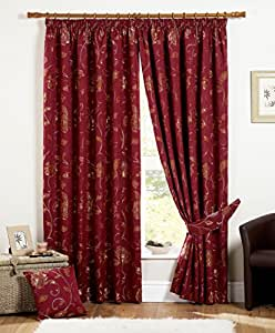 """One pair of Maybury Pencil Pleat (3"""" header) Curtains in Claret, Size: 46x54"""" (117 x 137 cm) width x drop"""