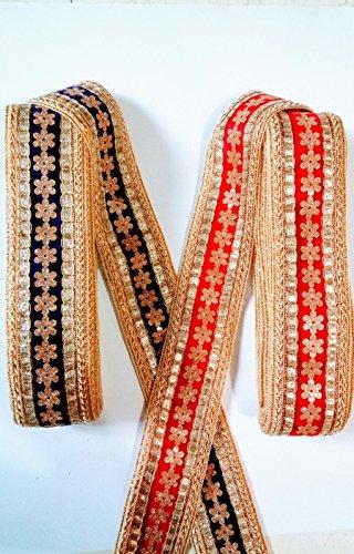 MR Fashion hawy Blue & red cutwork Lace & cutwork lace for...